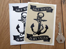Agua salada en mis venas salado Seadog Barco pegatina de 120 mm Pescador Marinero Premium