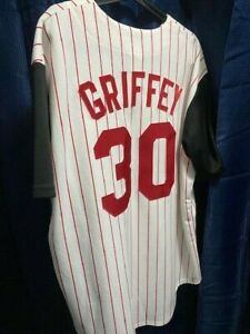 Ken Griffey Jr. - Cincinnati Reds - Jersey #30 - Size XL White & Black w/Stripes