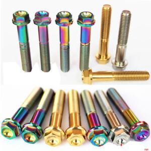 4pcs M6 x 10/15/25/30/35/40/45/50/60mm Titanium Flange Bolts Screws HEX HEAD CAP
