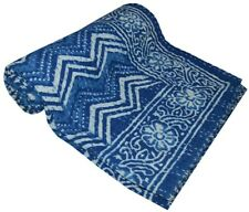 Block Print Twin/Single Kantha Handmade Quilt Cotton Quilt Bed Cover Throw