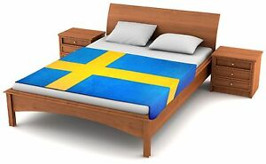 "Fuzzy Flags™ Sweden Flag Fleece Blanket 80"" x 50"" Oversized Swedish Throw Cover"