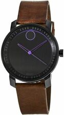 Discounted Movado Bold Black Dial w/ Brown Leather Strap Watch 3600488