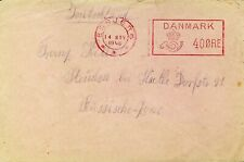 Denmark 1946 Post Wwii 40 Ore Meter Cover From Esbjerg To Germany