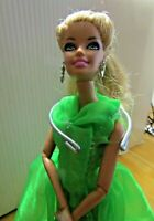 BARBIE DOLL EARRINGS ARTICULATED BODY GREEN DRESS SILVER HIGH HEELS