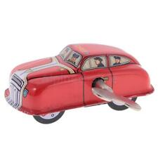 Retro Wind Up Fire Car with Key Clockwork Metal Tin Toys Collectible Gifts