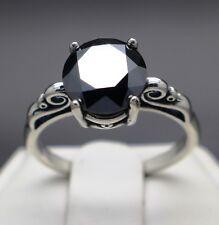 2.27cts 8.51mm Real Natural Black Diamond Ring AAA Grade & $1335 Value..