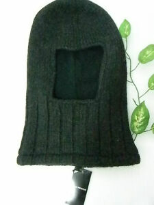 Emporio Armani Black Knitted Balaclava Hood Snood Hat Unisex Italy NEW