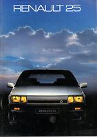 Catalogue publicitaire gamme RENAULT 25 R25 V6 TURBO LIMOUSINE GTX GTD GTS
