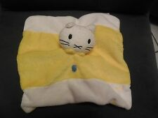 doudou plat ours chat blanc jaune MUSTI BENGY