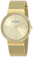Skagen SKW2129 Ancher Gold Dial Gold Tone Stainless Steel Mesh Women's Watch