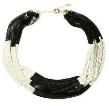 NWT Amrita Singh Chelsea Large Multi Chain White Black Bib Necklace NKC 2030