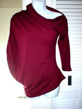 New Womens Josie Natori Asymmetric Top S NWT Dark Red Brick Ruched Sleeve Blouse