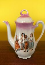 Antique1920's Victorian Era, Tea Pot, Pink/White 4 ChildrenPlaying, made/Germany