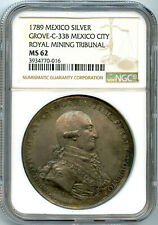 Mexico Charles IV Silver Proclamation Medal 1789 NGC MS62