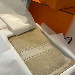 HERMES Beach Towel Simple Beige Color Cotton Paris France New