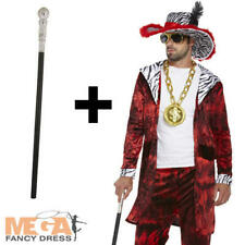 70s Big Daddy Pimp + Stick Mens Fancy Dress Adult 1970s Gangster Adults Costume