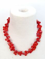 """Chunky 20"""" Long Necklace Vintage 1950's Genuine Coral Beaded"""