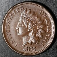 1875 INDIAN HEAD CENT With LIBERTY - XF EF+  With OBVERSE DIE CRACKS ALL AROUND!