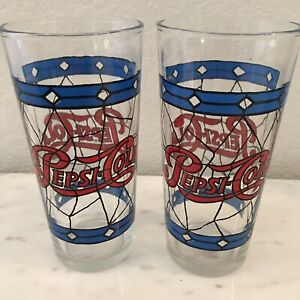 2 VINTAGE Tiffany -Style Stained Glass Pepsi Cola  16 oz. Drinking Glass 1970s