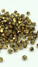 100 Shiny GOLD Metallic 4mm Bicone Crystals Spacers Findings DIY Craft Jewellery