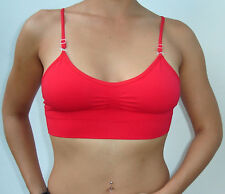 One Seamless Bra Top with Straps RED Smooth One Size - FREE SHIPPING TO USA