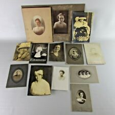 VTG photo lot of 12 woman lady women old antique photograph black white framed