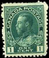 Canada #104b mint F-VF OG NH 1923 King George V 1c blue green Admiral Dry Print
