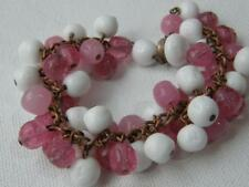 Vintage White Milk Glass and Clear Pink Glass Bead Bracelet ~ Made in Japan
