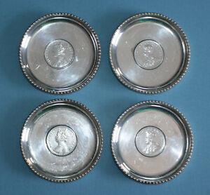1877 1901 1916 1918 INDIA ONE RUPEE SILVER COIN ASHTRAY / TRINKET BOWLS