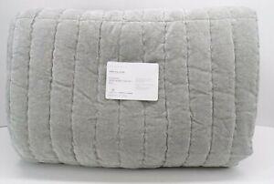 Pottery Barn Hudson Heathered Luxe Velvet Cotton Quilt King Cal King Gray #3655