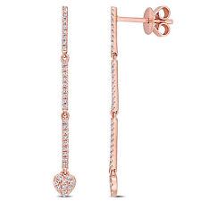 Amour 14K Rose Gold 1/5 CT TW Diamond Linear Drop Earrings