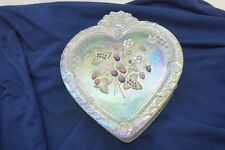 FENTON GLASS CANDY DISH LIDDED BOX HEART HAND PAINTED BERRIES CARNIVAL LARGE 9in