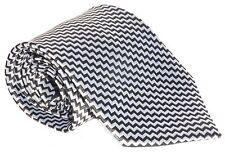 100% Silk Tie / Men's Necktie - Silver And Black Zig Zag Pattern