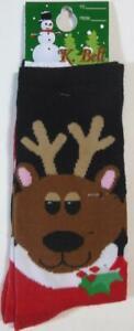 K Bell Christmas Reindeer Santa Black & Red Socks New Size 9 - 11 Gift Tag Holly