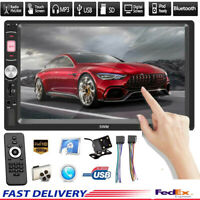 "7"" 2DIN Touch Screen Car Radio Bluetooth Stereo MP5 CD Player & Backup Camera US"