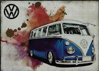 PLAQUE METAL vintage VOLKSWAGEN VW combi BLUE - 40 x 30 cm
