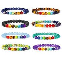 7 Chakra Energy Yoga Reiki Natural Lava Stone Diffuser Bracelet for Men Women US
