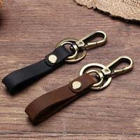 KEY CHAIN & LEATHER Belt Loop Key Holder Ring Keychain Keyring Keyfob Detachable