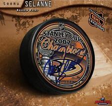 Teemu Selanne Signed Anaheim Ducks 2007 Stanley Cup Champions Puck