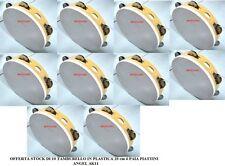 OFFERTA STOCK DI 10 TAMBURELLO IN PLASTICA 20 cm 6 PAIA PIATTINI ANGEL AK11
