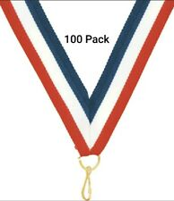 100 Red, White, & Blue Nylon Neck Ribbon Lanyards w/ Clips for Medals