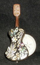 Dollhouse Miniature Mexican Wooden Guitar Mother of Pearl Inlay #2775 WI-1704