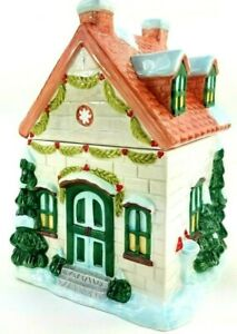 """Pfaltzgraff Christmas Large Cookie Jar 11.5"""" """"Winterberry"""" House, Trees and Snow"""