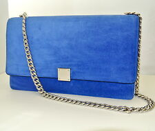 Celine Large Case Flap Suede Chain Shoulder Bag in Royal Blue Retail $4,400 NEW