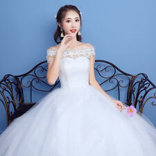 Cheap Elegant Princess Bride's Wedding Dresses Bridal Ball Gowns Ivory Wed Frock