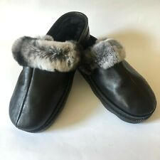 Cozy Warm Womens Leather & Chinchilla Fur Moccasins Slippers House Shoes