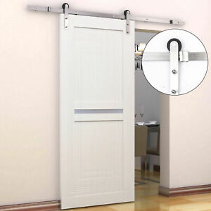 HOMCOM 2m Sliding Wood Barn Door Track System Kit Hardware Set