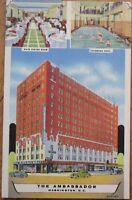 Washington, DC/DOC 1948 Linen Postcard-Ambassador Hotel/Swimming Pool/Restaurant