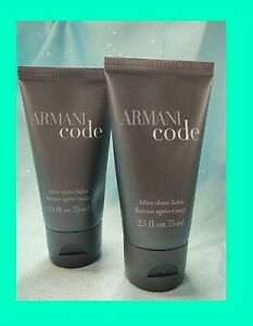 Set of 2 Men's ARMANI CODE ~ AFTER SHAVE BALM Soothes Skin 2.5 oz NEW GIFTS!!!!!