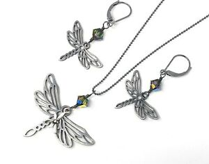 Dragonfly Antique Black Sterling Silver Necklace, Earrings or Set - insect charm